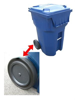 zoomed roll-tech snaplock wheel on recycling container